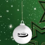 Werbeartikel Christbaumkugel Weihnachtsbaumkugel bedrucken baumschmuck Porzellan