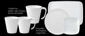 Melamin Tassen Teller Geschirr Becher mit Logo bedrucken Kleinauflage bestellen