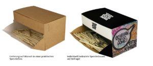 Partypicker Spenderbox Standard braun oder individuell bedruckt mit Ihrem Logo Slogan oder Claim.