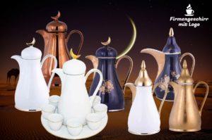 Isolierkanne aus Porzellan als orientalische arabische marokkanische kaffeekanne teekanne bedrucken