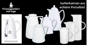Isolierkannen aus Porzellan weiß oder mit Dekor. (bedrucken oder gravieren mit Logo)